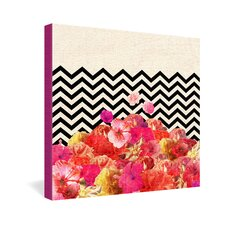<strong>DENY Designs</strong> Bianca Green Chevron Flora 2 Gallery Wrapped Canvas