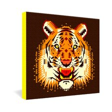 Chobopop Geometric Tiger Gallery Wrapped Canvas