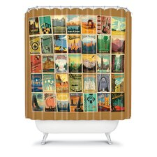 Anderson Design Group Woven Polyester City Pattern Border Shower Curtain