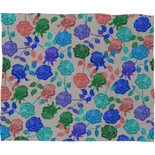 Bianca Green Roses Polyester Fleece Throw Blanket