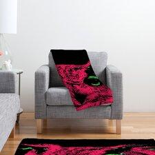 Romi Vega Pink Owl Polyester Fleece Throw Blanket