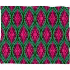 Wagner Campelo Ikat Leaves Polyester Fleece Throw Blanket