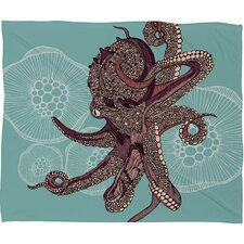 Valentina Ramos Octopus Bloom Polyester Fleece Throw Blanket