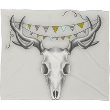 Wesley Bird Skull Polyester Fleece Throw Blanket