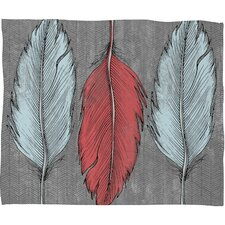 Wesley Bird Feathered Polyester Fleece Throw Blanket