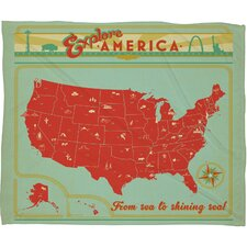 Anderson Design Group Explore America Polyester Fleece  Throw Blanket