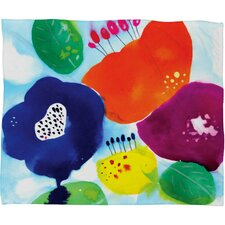 CayenaBlanca Big Flowers Polyester Fleece Throw Blanket