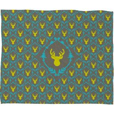 Bianca Green Oh Deer 3 Polyester Fleece Throw Blanket