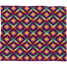Bianca Green Aztec Diamonds Hammock Polyester Fleece Throw Blanket