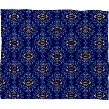 Belle13 Royal Damask Pattern Polyester Fleece Throw Blanket