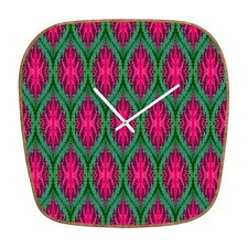 Wagner Campelo Ikat Leaves Wall Clock