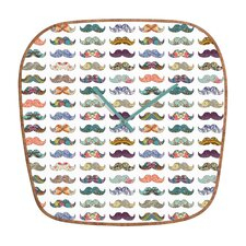 <strong>DENY Designs</strong> Bianca Green Mustache Mania Wall Clock