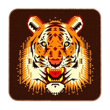 Geometric Tiger by Chobopop Framed Graphic Art Plaque