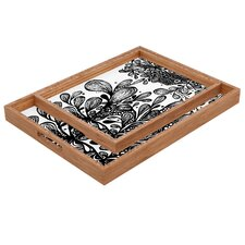 Julia Da Rocha Wild Leaves Rectangular Tray