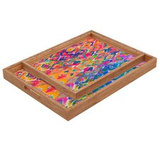 Amy Sia Watercolour Ikat 3 Rectangular Tray