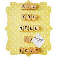<strong>DENY Designs</strong> Happee Monkee All You Need Is Love 1 Quatrefoil Magnet Board