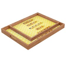 <strong>DENY Designs</strong> Happee Monkee All You Need Is Love 1 Rectangular Tray