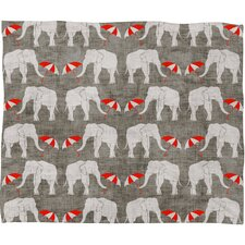 Holli Zollinger Elephant and Umbrella Polyesterrr Fleece Throw Blanket