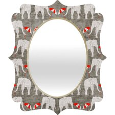 Holli Zollinger Elephant and Umbrella Quatrefoil Mirror