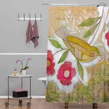 Cori Dantini Woven Polyester Sweet Meadow Bird Shower Curtain