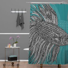 Valentina Ramos Woven Polyester Beta Fish Shower Curtain