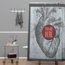Wesley Bird Polyester You Are Here Shower Curtain