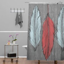 Wesley Bird Polyester Feathered Shower Curtain