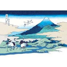 Cranes Nearby Mount Fuji by Katsushika Hokusai Graphic Art on Canvas