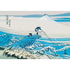 Fishing in the Surf by Katsushika Hokusai Graphic Art on Canvas