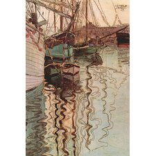 Sailboats in Wollenbewegten Water by Egon Schiele Painting Print on Canvas