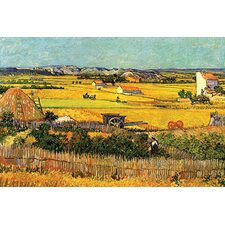 Harvest at La Crau with Montmajour in the Background Painting Print on Canvas