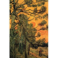 Pine Trees against a Red Sky with Setting Sun by Vincent Van Gogh Painting Print on Canvas
