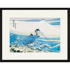 Fishing in The Surf by Katsushika Hokusai Framed Graphic Art
