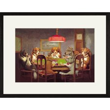 <strong>Buyenlarge</strong> Passing the Ace Under the Table (Dog Poker) Framed and Matted Print