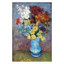 Flowers in a Blue Vase by Vincent van Gogh Painting Print on Canvas