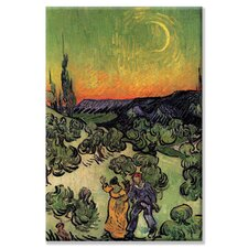 <strong>Buyenlarge</strong> Landscape with Couple Walking and Crescent Moon Canvas Wall Art