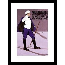 Reflective Skier in Turtleneck Framed Vintage Advertisement