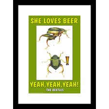 <strong>Buyenlarge</strong> She Loves Beer, Yeah, Yeah, Yeah - The Beetles Framed and Matted Print