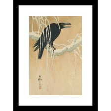 <strong>Buyenlarge</strong> Blackbird in Snow Framed and Matted Print