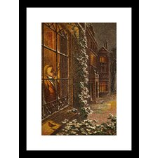 <strong>Buyenlarge</strong> Christmas Eve and a Robin Rests on the Window Sill in the Falling Snow Framed and Matted Print