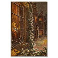 Christmas Eve and a Robin Rests on the Window Sill in the Falling Snow Canvas Wall Art