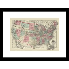 <strong>Buyenlarge</strong> Map of The United States Territories 1872 Framed and Matted Print