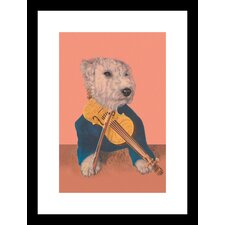 <strong>Buyenlarge</strong> Dog with Violin Framed and Matted Print