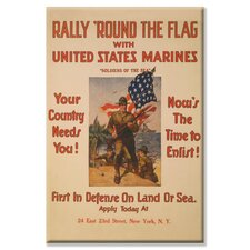 <strong>Buyenlarge</strong> Rally Round the Flag with the United States Marines Canvas Wall Art