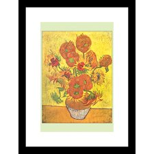 <strong>Buyenlarge</strong> Vase with Fourteen Sunflowers Framed and Matted Print