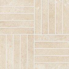 "Italian Stone 8"" x 8"" Porcelain Cross Mosaic in Avorio"