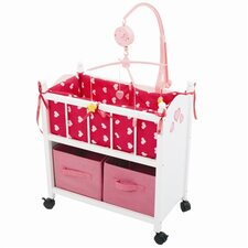 <strong>The New York Doll Collection</strong> Wooden Doll Baby Crib with Mobile