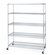5-Shelf Chrome Wire Shelving System with Casters/Wheels