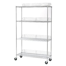 UltraZinc 4-Shelf NSF Commercial Steel Wire Shelving System with Wheels and Ledges