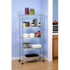 UltraZinc 5-Shelf Home Style Steel Wire Shelving System with Wheels